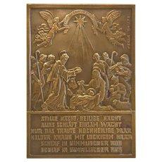 Gilt Bronze plaque depicting a nativity scene, signed Oscar Thiede, ca. 1910