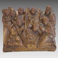 Antique Alabaster relief depicting a nativity, Belgium 17th century