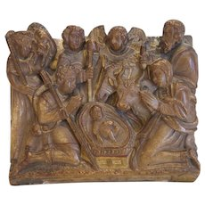 Antique Alabaster relief depicting a nativity, Belgium 17th century