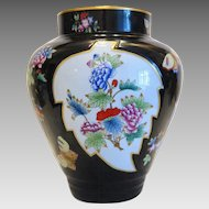 Herend flower vase with the pattern Black Victoria, marked and dated 1941