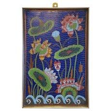 Vintage Cloisonne Enamel flower panel,20th century
