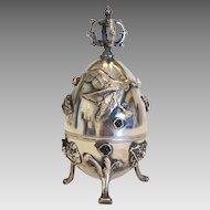 Antique Russian silver egg with relief work , Russian hallmark and makers mark, ca.1878