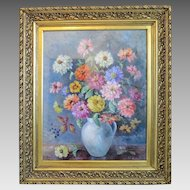 Painting oil on canvas depicting colorful Zinnias, signed ,dated early 20th century
