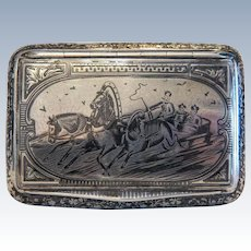 Antique silver cigarette case with Niello painting, hallmark and maker´s mark, 19th century