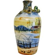 Vintage hand painted snake Majolica vase, Italy ca. 1950