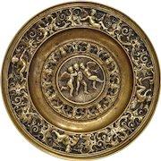 Antique Italian Gilt Bronze relief trinket, signed Antonio Pandiani Milano, 19th century