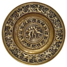 Antique Italian Gilt Bronze relief trinket, signed Antonio Pandiani Milano, 19th century