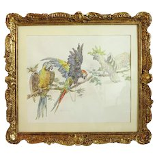 Antique watercolor  painting , signed , 19th century