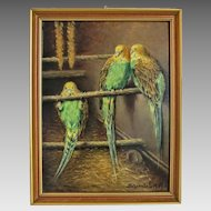 Painting oil on canvas depicting three budgies, signed and dated 1937