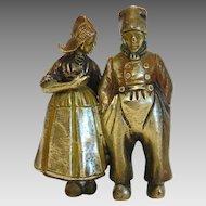 Antique Bronze figure of a Dutch couple, 19th century