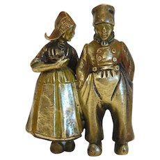 Antique Bronze figure of a Dutch couple, 19th century