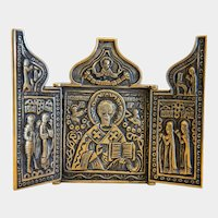 Russian Tryptich depicting St. Nicholas,early 20th century
