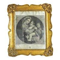 Antique Steel engraving set in original gilt wood frame,18th century