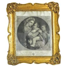 Antique Steel engraving set in original gilt wood frame,18th century