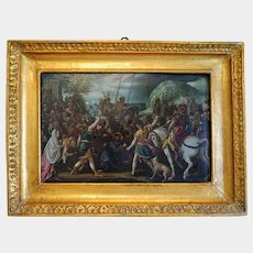Antique painting depicting the passion of Christ, oil on copper, 16th century