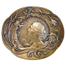 Antique Art Nouveau Bronze plate,signed A. Zehle, ca. 1900 - Red Tag Sale Item