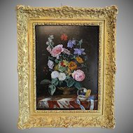 Antique flower painting ,oil on wood, signed Franz Xaver Pieler ( 1876- 1952)