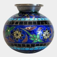 Vintage silver enamel vase,early 20th century