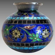 Vintage silver enamel vase,early 20th century