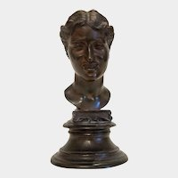 Antique Bronze bust of a young girl ,signed by Vicenzo Gemito 1852-1929