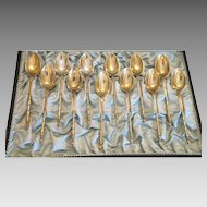 Antique  gilt silver  monogrammed coffee spoons , 19th century