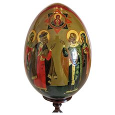 Vintage Russian Easter egg, hand painted, early 20th century
