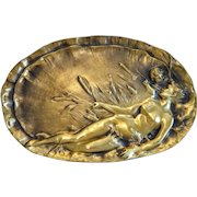 Art Nouveau Gilt Bronze plate , signed,  France ca. 1900