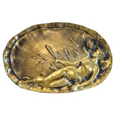 Art Nouveau Gilt Bronze plate , signed,  France ca. 1900