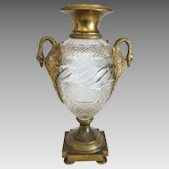 Antique French Napoleon III Gilt Bronze vase,lead crystal glass, 19th century