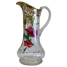 Antique water jug, hand painted, ca.1900