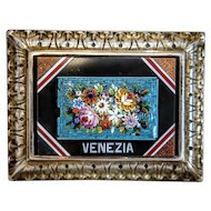 Antique Micro Mosaic paperweight , silver plate frame, 19th century
