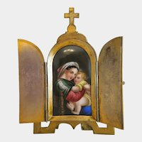 Antique French Tryptich with porcelain painting, gilt metal. 19th century