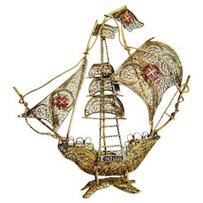 Vintage Portugese Caravel ship, gilt silver ,1st half of the 20th century