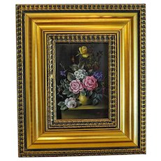 Flower painting, oil on wood, signed and dated at the early 20th century