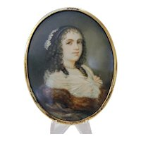 Antique miniature painting, oil on copper, 19th century