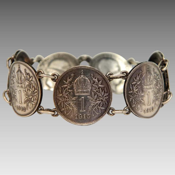 Antique Silver Coin Bracelet Of The Habsburg Monarchy Early 20th Century