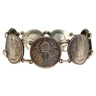 Antique  Habsburg silver coin bracelet ,early 20th century