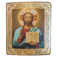 Antique Russian Icon of Christ Pantocrator, 17 inch x 15 inch, early 19th century