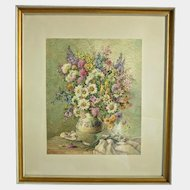 Water color on paper depicting a vase with flowers, signed Hans Rohacs, ca. 1930