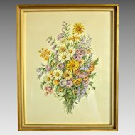 Flower painting depicting meadow flowers, water color, signed Hans Rohacs (1889-1956), ca. 1930