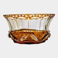 Antique Bohemian Amber glass bowl, 19th century