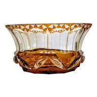 Antique Bohemian Amber glass bowl, 19th century