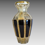 Antique Moser lead crystal vase, hand painted and enamelled, late 19th century