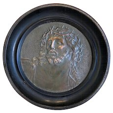 Antique copper plaque with the relief portrait of Jesus Christ, 19th century