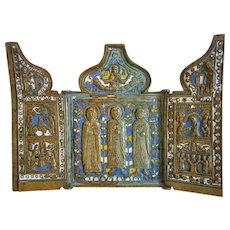 Antique Russian tryptich with Saints, rich enamelling, 19th century