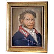 Antique Biedermeier  pastel painting of a gentleman, ca.1830