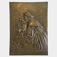 Antique Bronze plaque depicting St. Antonio and the Christ Child, 19th century