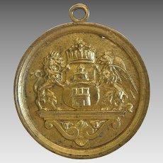 Antique heraldic pendant, gilt metal, dated  1895