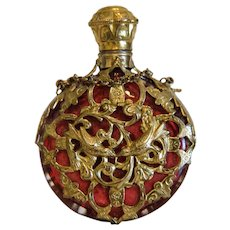 Antique ruby glass scent bottle, gilt metal, 19th century