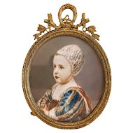 Antique miniature in a gilt bronze frame, 19th century